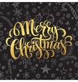 Gold Merry Christmas lettering in chalk seamless vector image