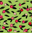 green pattern with rose buds and leaf vector image