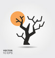 halloween tree flat silhouette icon with shadow vector image