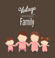 happy family icon vintage in simple figures two vector image vector image
