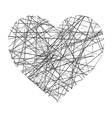 heart made of black lines vector image vector image