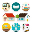 house icon family houses set with interior bubbles vector image vector image