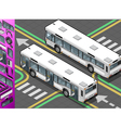 Isometric Bus with Opened Doors vector image vector image