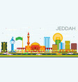 jeddah skyline with color buildings and blue sky vector image vector image
