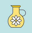 jug of floral essence filled outline icon for bea vector image vector image
