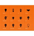 Light bulb lamp icons on orange background vector image vector image