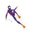man in diving suit and fins swimming underwater vector image vector image