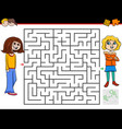 maze game with girl and her friend vector image