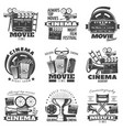 monochrome cinema emblems vector image vector image