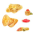 pancakes with red caviar watercolor vector image vector image