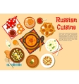 Popular main dishes and dessert of russian cuisine vector image vector image