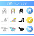 preschoolers toys icons set vector image