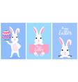 set funny white easter bunnies white rabbit vector image vector image