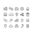 simple set of dessert thin line icons vector image