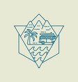 surf boards on beach van icon in line art style vector image vector image