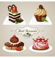 Sweets cakes dessert set vector image