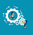 teamwork manager working with employee together vector image