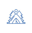 tent in the forest line icon concept tent in the vector image vector image