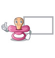 thumbs up with board character childrens pacifiers vector image vector image