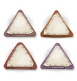 torn paper signs on stone and wood triangles vector image vector image
