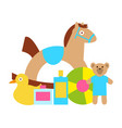 toys for kids play as rocking horse teddy bear vector image