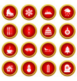winter icon red circle set vector image vector image