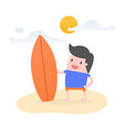young man on beach with his surfboard vector image