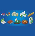 isometric casino icons set vector image