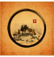 Island with trees in black enso zen circle vector image