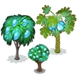 Trees with blue pears apples and pineapples vector image