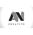 an logo letter with black lines design line letter vector image vector image