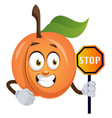 apricot with stop sign on white background vector image vector image