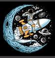 astronaut riding rocket