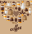 background with coffee icons food of vector image
