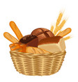 basket filled with baked goods realistic style vector image