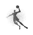 basketball player jump particle splash silhouette vector image vector image