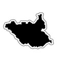 black silhouette of the country south sudan with vector image