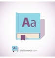 blue dictionary book icon vector image vector image