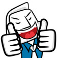 business white man cartoon smiling and thumb up vector image vector image