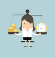 businesswoman balancing time and money vector image vector image