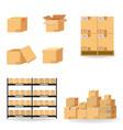 cardboard boxes carton collection delivery vector image