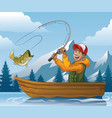 cartoon of man fishing in boat vector image
