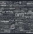 coffee words seamless background vector image vector image