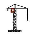 color crayon stripe cartoon tall crane of building vector image vector image