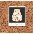 corkboard with instant photo card and vector image vector image