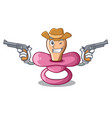cowboy character childrens pacifiers for the vector image