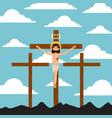 crucifixion of jesus christ three crosses vector image