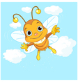 Cute Bee flying in the sky vector image vector image