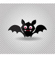 cute funny black smiling bat with red eyes vector image