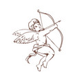 drawing of adorable cupid with bow aiming or vector image